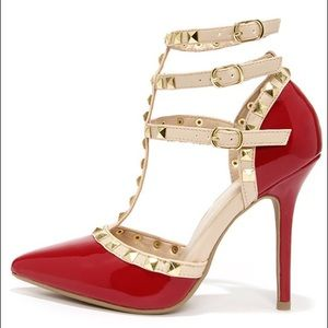 Wild Diva Shoes - Wild Diva Lounge Adora 55 Studded T-Strap Heels